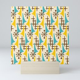 Retro Mid Century Modern Atomic Wing Pattern 424 Brown Yellow and Turquoise Mini Art Print