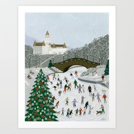 Ice skating pond Art Print