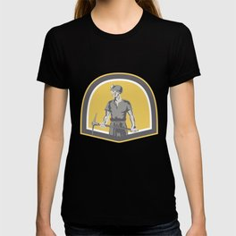 Coal Miner Standing Holding Pick Axe Shield Retro T-shirt