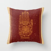 hamsa Throw Pillows featuring Hamsa by Stranger Designs