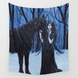 Midnight Travelers Gothic Fairy and Unicorn Wall Tapestry