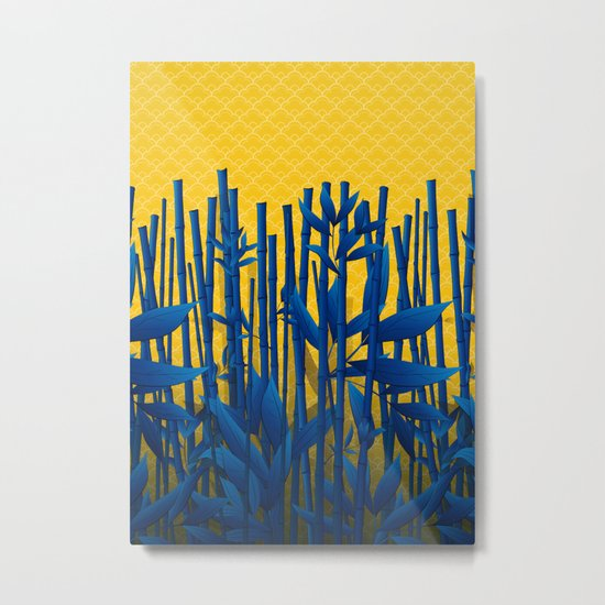 Blue Bamboo Metal Print
