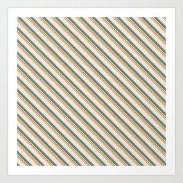 Diagonal Stripes in Olive, Terracotta, Tan and Cream Art Print