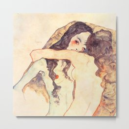 "Egon Schiele ""Two women embracing"" Metal Print"