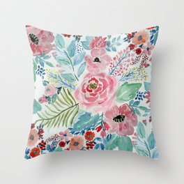 Pretty watercolor hand paint floral artwork. Throw Pillow