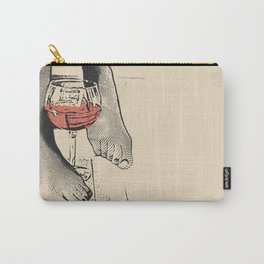 Perfect saturday night - kinky feets fetish artwork, woman in bodystocking with wine glass Carry-All Pouch