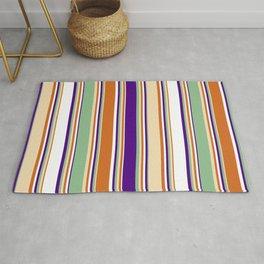 Eyecatching Chocolate, Tan, Dark Sea Green, Indigo & White Colored Stripes Pattern Rug