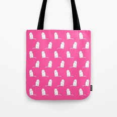 white cat pattern pink background Tote Bag