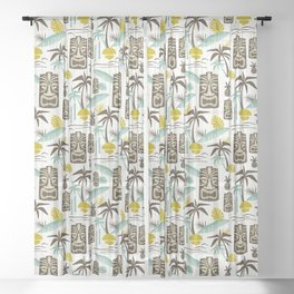 Island Tiki - White Sheer Curtain