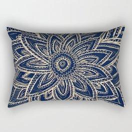 Cute Retro Gold abstract Flower Drawing  geometric Rectangular Pillow