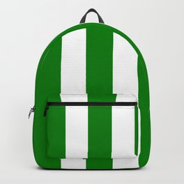 Green (HTML/CSS color) - solid color - white vertical lines pattern Backpack