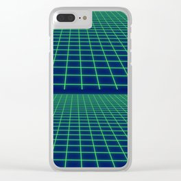 80's Postmodern Mystery Grid Clear iPhone Case