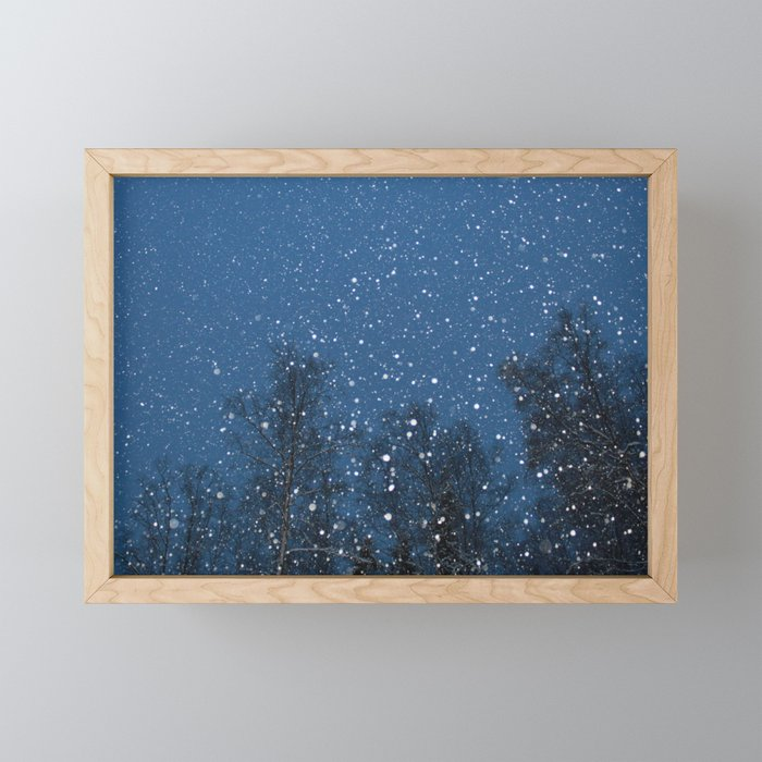 Falling Snow 2 Framed Mini Art Print