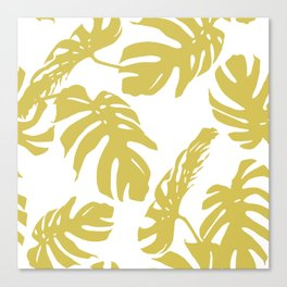 Simply Mod Yellow Palm Leaves Canvas Print