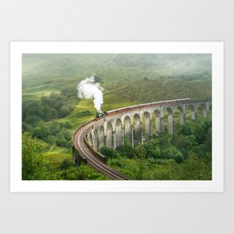 Hogwart Express steam engine in the scottish highlands Art Print