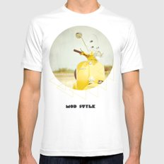 Mod Style in Yellow White Mens Fitted Tee MEDIUM