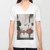 cabin pressure V-neck T-shirts featuring Gorreana pressure by Sébastien BOUVIER
