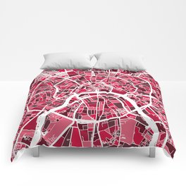 Moscow City Street Map Comforters