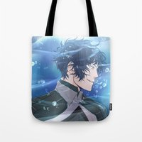 the legend of korra Tote Bags featuring Legend of Korra: Tahno by Yuki119