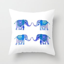 HAPPY ELEPHANTS - WATERCOLOR BLUE PALETTE Throw Pillow