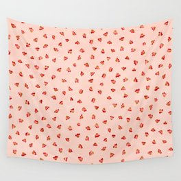 Ditsy Floral Petal Garden, Watercolor Leaves in Soft Pastel Pinks with Splashes of Red Wall Tapestry