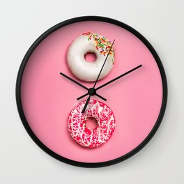 Pink Donuts Wall Clock