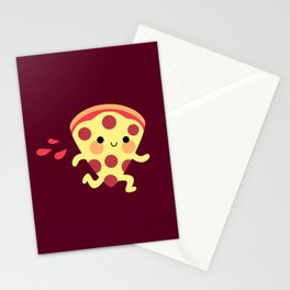Cute running pizza slice Stationery Cards