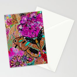 Neon Butterflies Stationery Cards