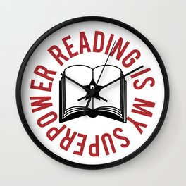 Reading Is My Superpower Wall Clock