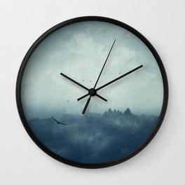 Flight Home - Mist Over Landscape Wall Clock