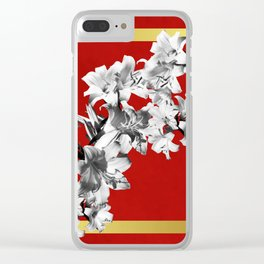 Lilies, Lily Flowers on Red Clear iPhone Case