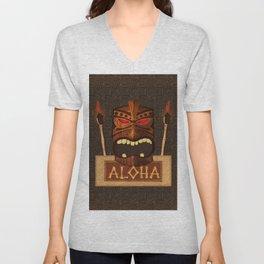 Vintage Wood Tiki Aloha Unisex V-Neck