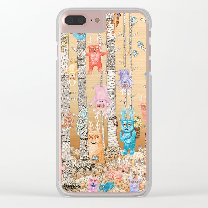Cute Monsters Clear iPhone Case