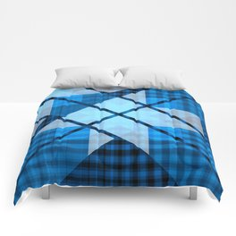 Abstract Geometric Blue Plaid Design Comforters
