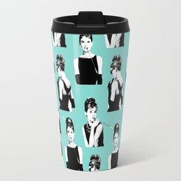 Audrey Hepburn on blue pattern Travel Mug