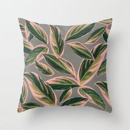 Calathea Leaves Pattern- Pink Green Gray Throw Pillow