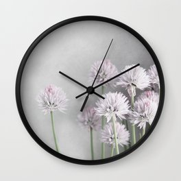 Lavender Flowers on Green Chives Wall Clock