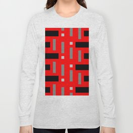 Pattern of Squares in Red Long Sleeve T-shirt