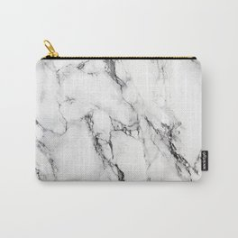 White Faux Marble Texture Carry-All Pouch
