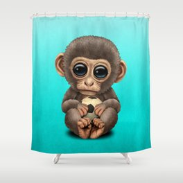 Cute Baby Monkey With Football Soccer Ball Shower Curtain