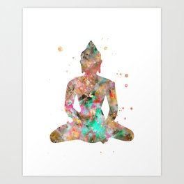 Buddha Watercolor Painting Gold Aqua Art Print