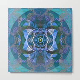 Sapphire Lavender Gem Boho Embroidery Mandala Print Metal Print