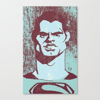 man of steel Canvas Prints featuring THE MAN OF STEEL by nachodraws