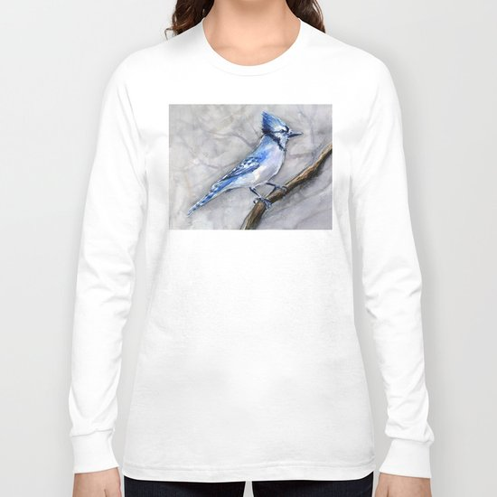 Blue Jay Watercolor Bird Long Sleeve T-shirt