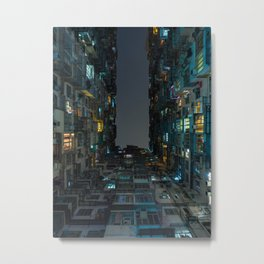 Vivid lights of an apartment building in Quarry Bay, Hong Kong | Asia travel photography Metal Print