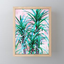 Blue palm trees with triangles Framed Mini Art Print