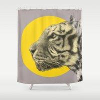 eric fan Shower Curtains featuring Wild 4 by Eric Fan & Garima Dhawan by Garima Dhawan