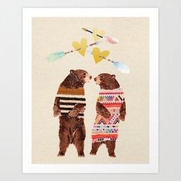 Dancing Bear Couple in Love Art Print