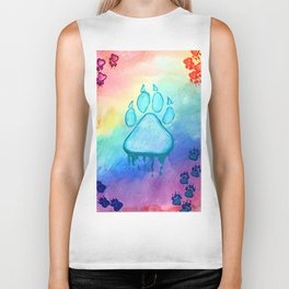 Painted Paw Prints on the Heart Biker Tank