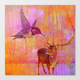 The loves platonic of the hummingbird and the deer Canvas Print